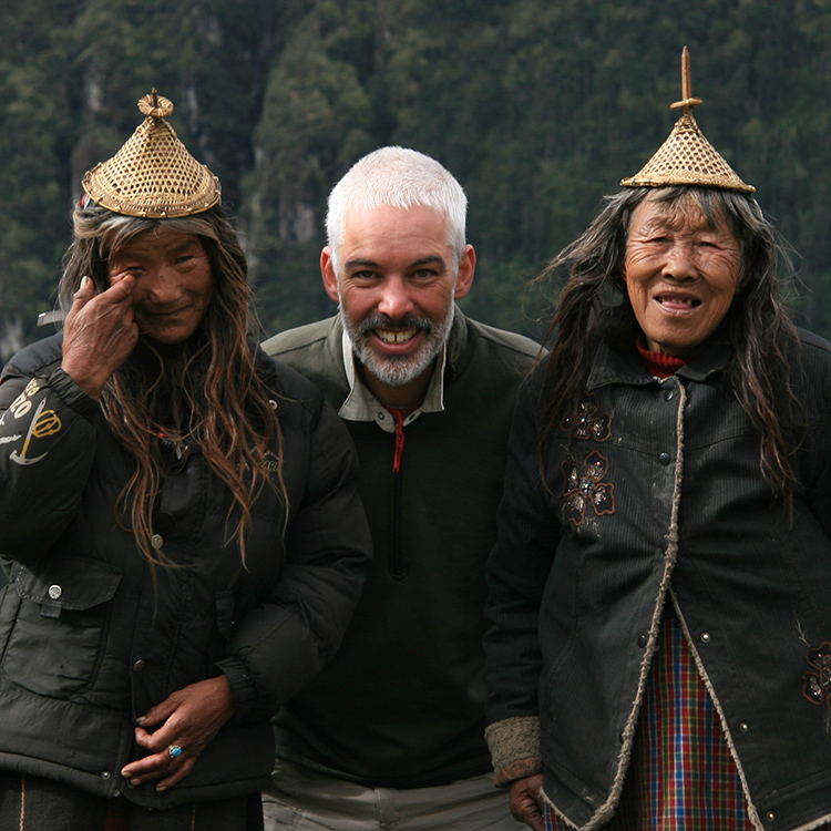Hanging out with locals in Laya, Bhutan