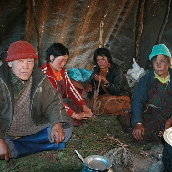 GHT Central Bhutan Trek nomad family in Lunana
