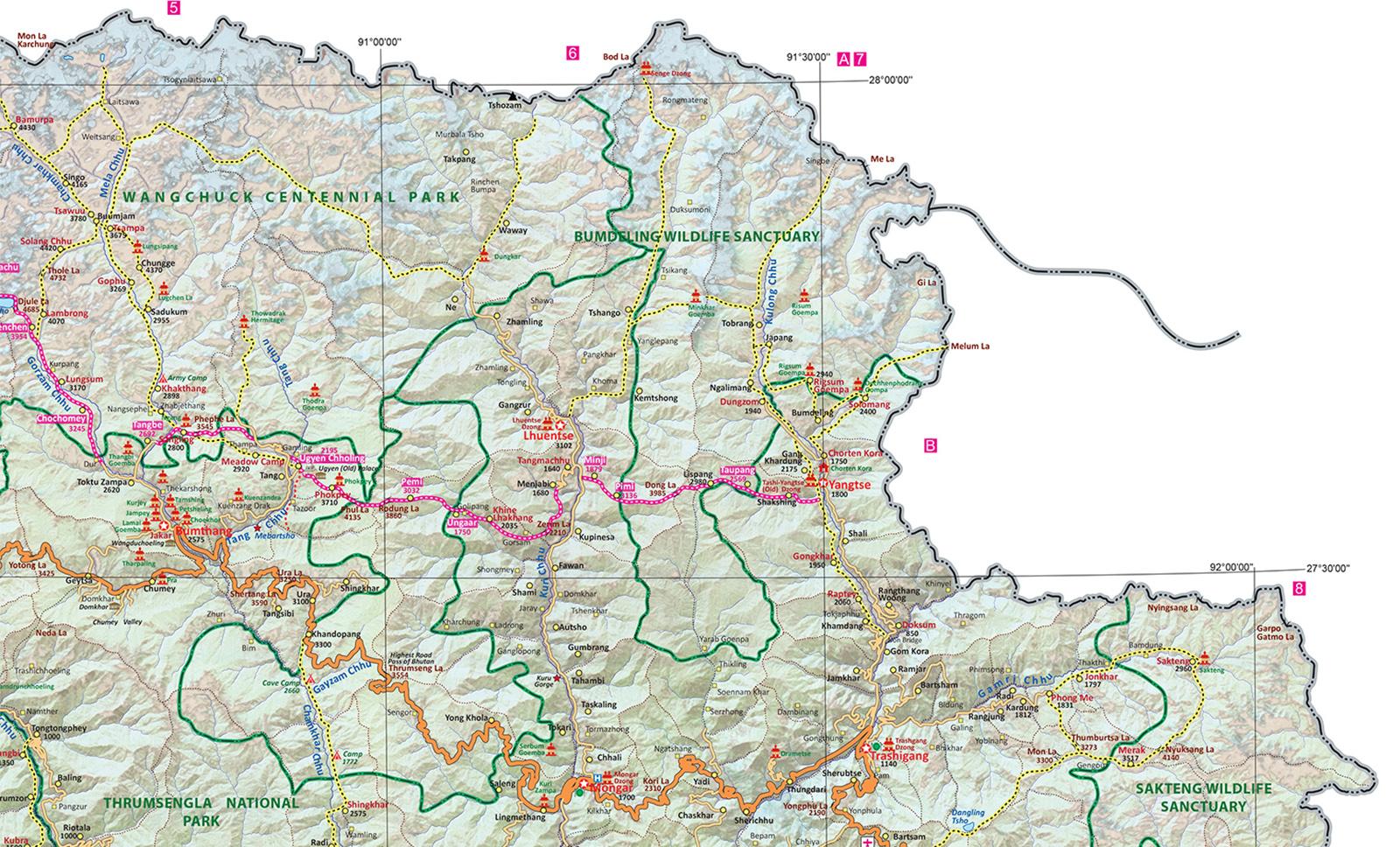 GHT East Bhutan Map
