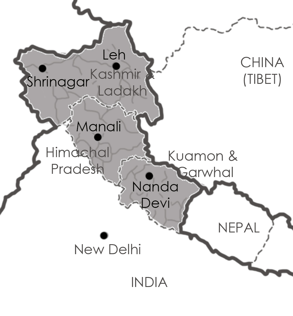 north west India map Kumaon Garwhal Himachal Pradesh Kashmir Ladakh