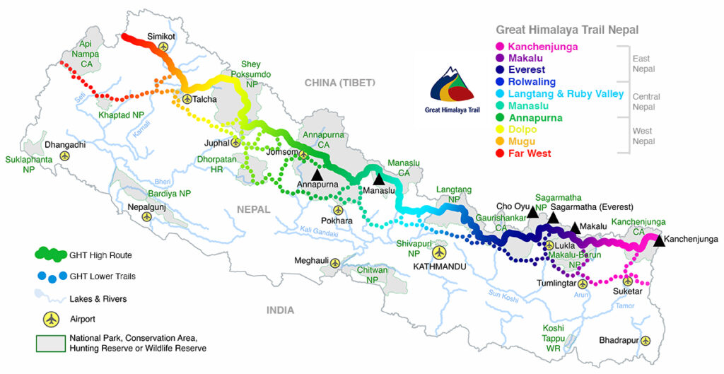 GHT Nepal Route Map