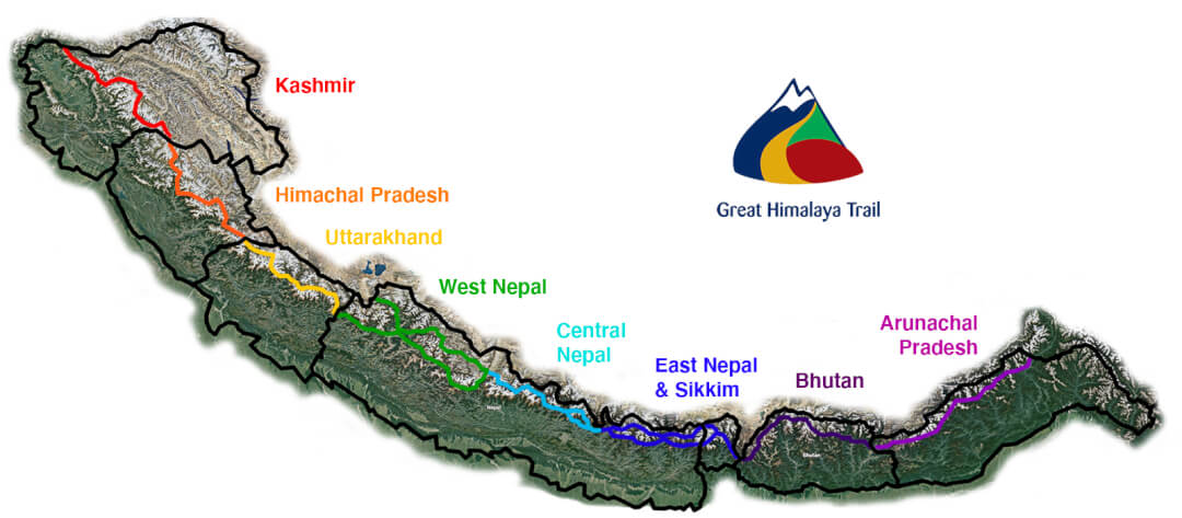 Go Trekking across the entire Great Himalaya Trail Map